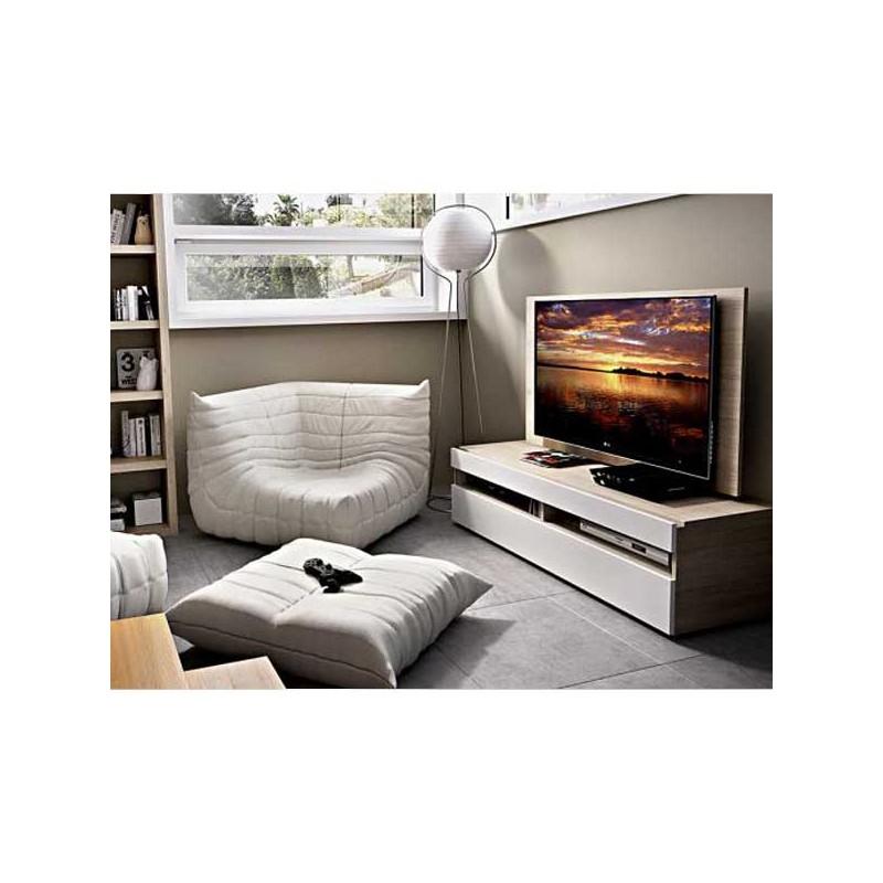 Bajo TV con panel y cajón con cristal - MueblesAlfafar.es - Tienda ...