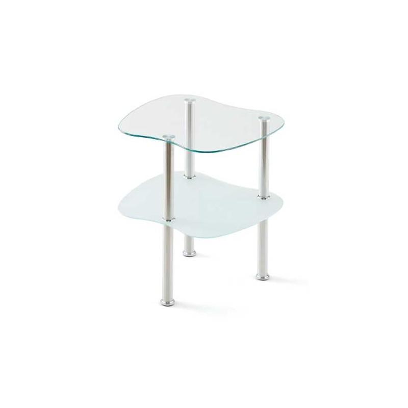 Mesa auxiliar con estructura de metal cromo cristal transparente - Estructura de metal ...