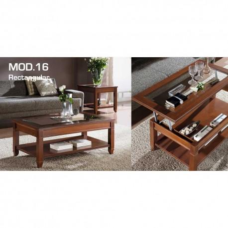 Mesa de centro elevable opción cristal/madera