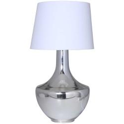 Lámpara de cristal y plata lisa