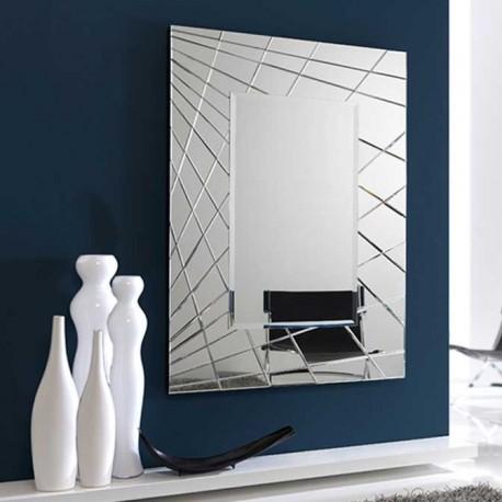 Espejo rectangular con marco de lunas biseladas for Espejo rectangular con marco