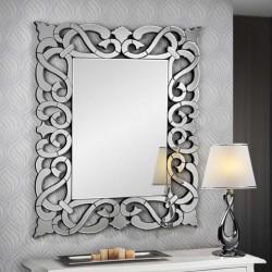 Espejo rectangular con luna central biselada