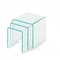 Conjunto de tres mesas nido en vidrio templado