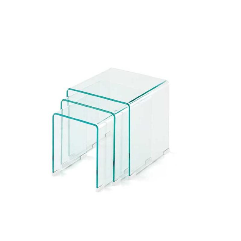 Conjunto de tres mesas nido en vidrio templado - Mesas de vidrio templado ...