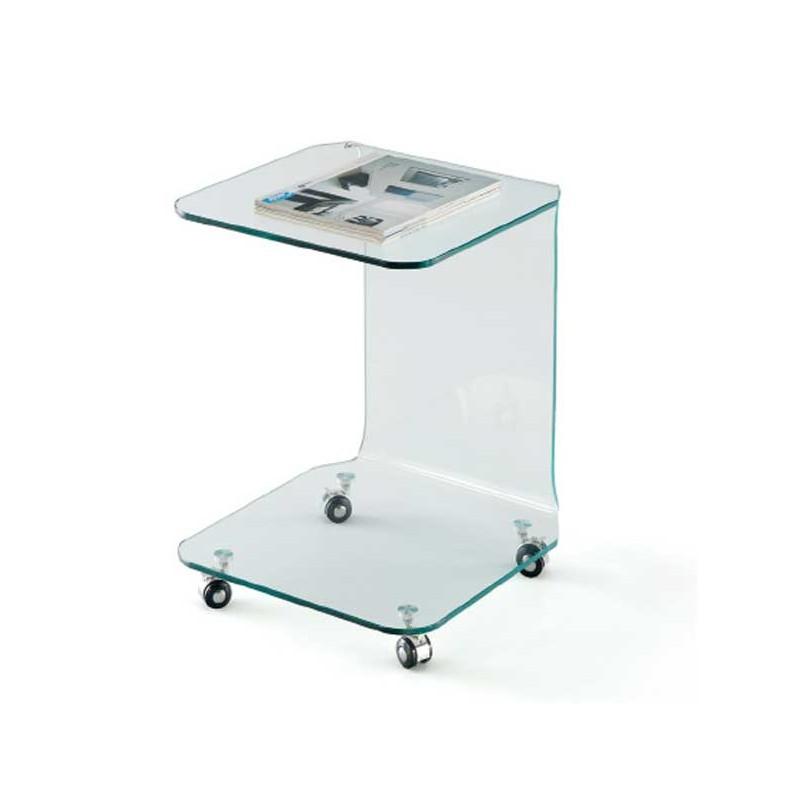Mesita auxiliar con ruedas en vidrio templado transparente for Carrito auxiliar con ruedas