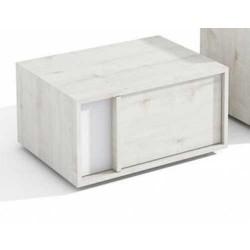 Mesita de un cajón en Blanco Poro