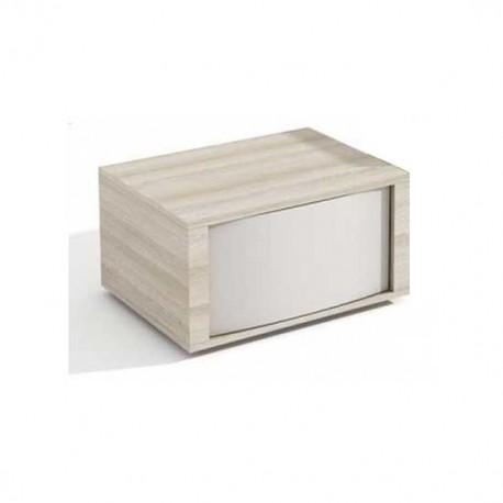 Mesita de un cajón en Abedúl y Blanco Poro