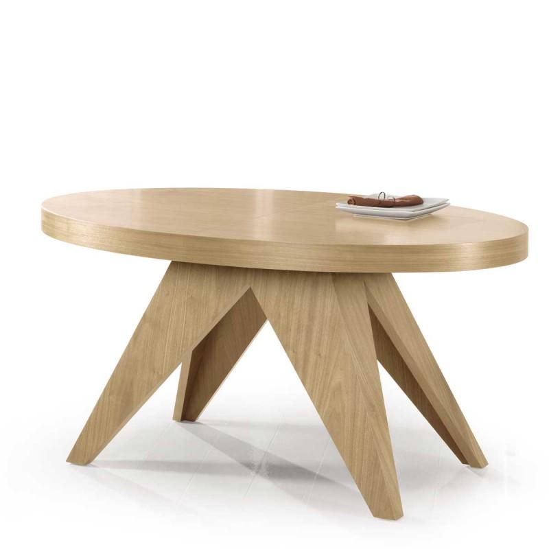 Mesa ovalada extensible con madera de primera calidad for Mueble que se convierte en mesa