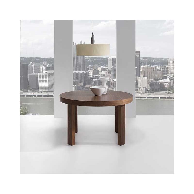 Mesa redonda extensible en color nogal te lo llevamos a tu casa gratis - Mesa comedor redonda extensible ...