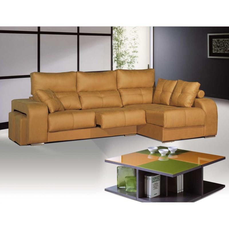 Sof tres plazas con chaise longe con brazo con pouf for Sofa tres plazas chaise longue