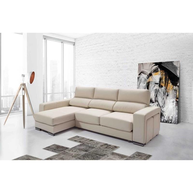 Chaise longue piel con poufs en brazo - Sofa piel chaise longue ...