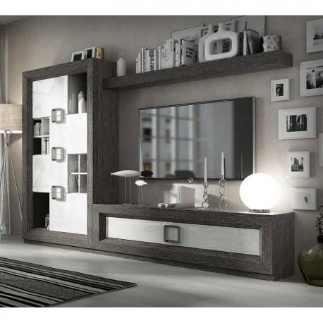 Comedor Contemporáneo gris y blanco brillo fabricado en madera natural
