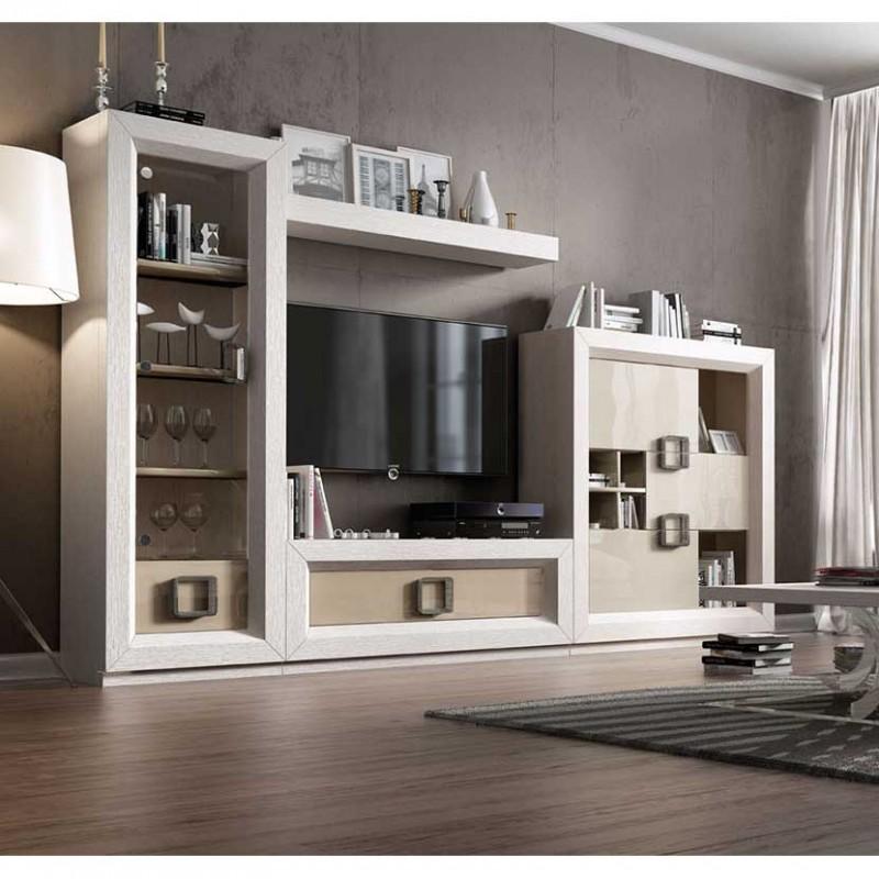 Composición Comedor clásico con vitrina, módulos y mueble TV
