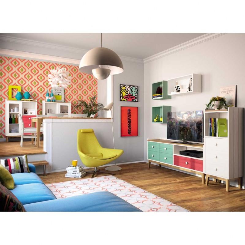 Composición comedor-salón vintage con dos cubos, mueble tv y módulos.