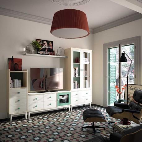 Comedor - salón vintage con mueble TV, módulos, estante y vitrina