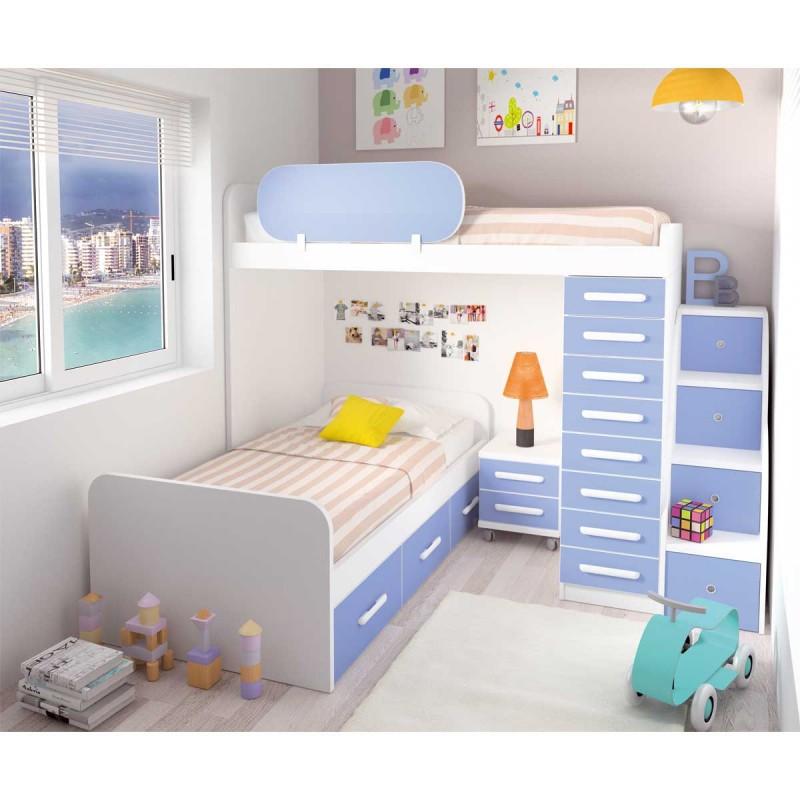 Litera con cama alta y quitamiedos cama baja tipo nido y - Quitamiedos para literas ...