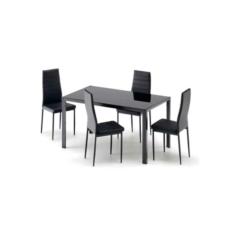 Conjunto vega mesa y cuatro sillas de metal y cristal - Conjunto mesas y sillas ...
