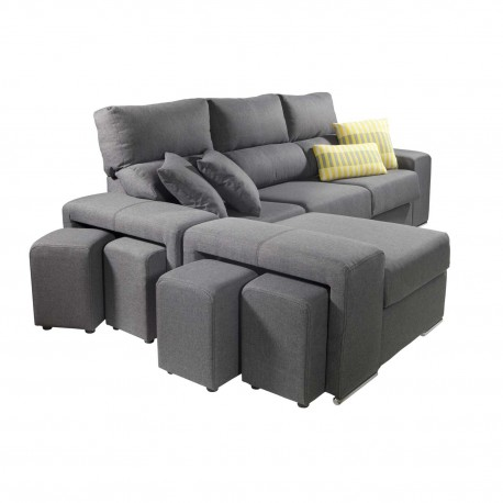 Sofá chaiselongue con Poufs en lateral