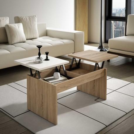 Mesa Centro elevable en blanco y cambrian. Envío gratuito a casa
