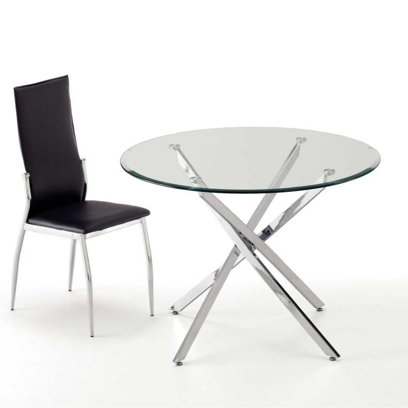 Pack mesa redonda con tapa de cristal y cuatro sillas for Mesa de cristal y 4 sillas