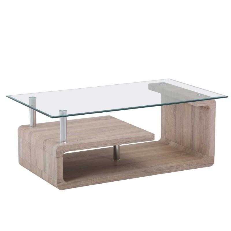 Mesa de centro madera cambrai y cristal transparente - Mesa centro transparente ...