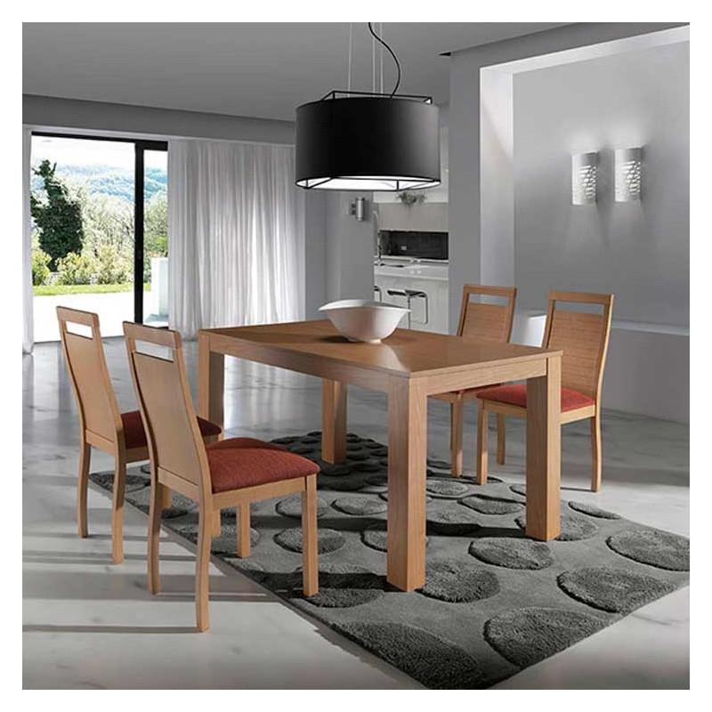 Mesa extensible y 4 sillas madera haya alta calidad for Mesa madera extensible