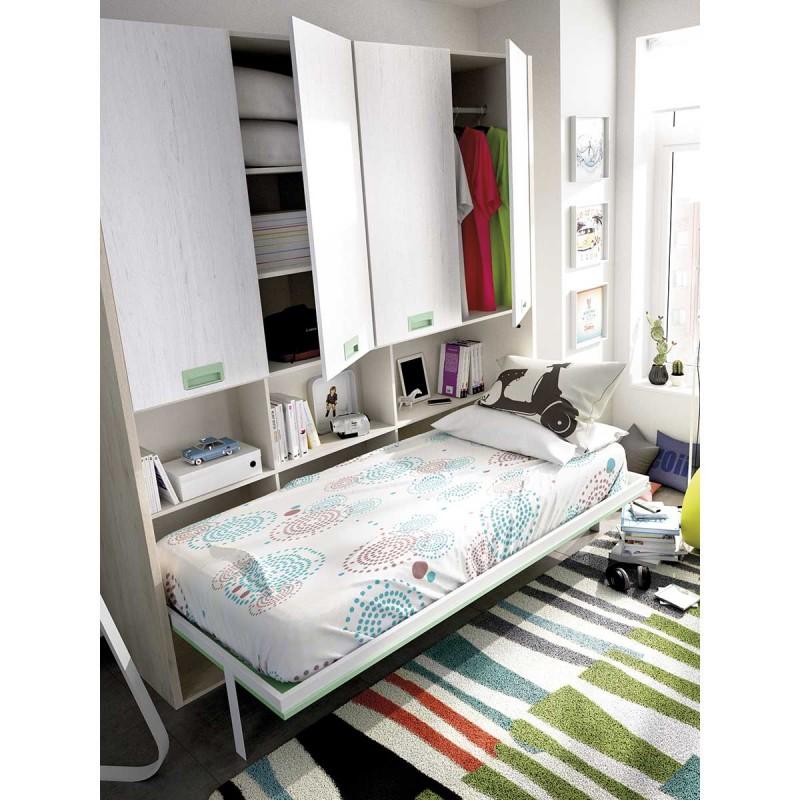 Cama abatible horizontal y armario con 4 puertas todo en uno - Construir cama abatible ...