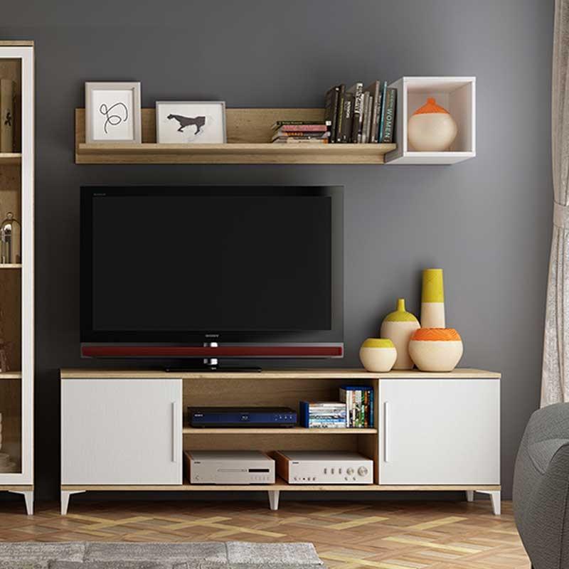 Mueble de tv vintage con puertas y huecos te lo for Mueble tv vintage
