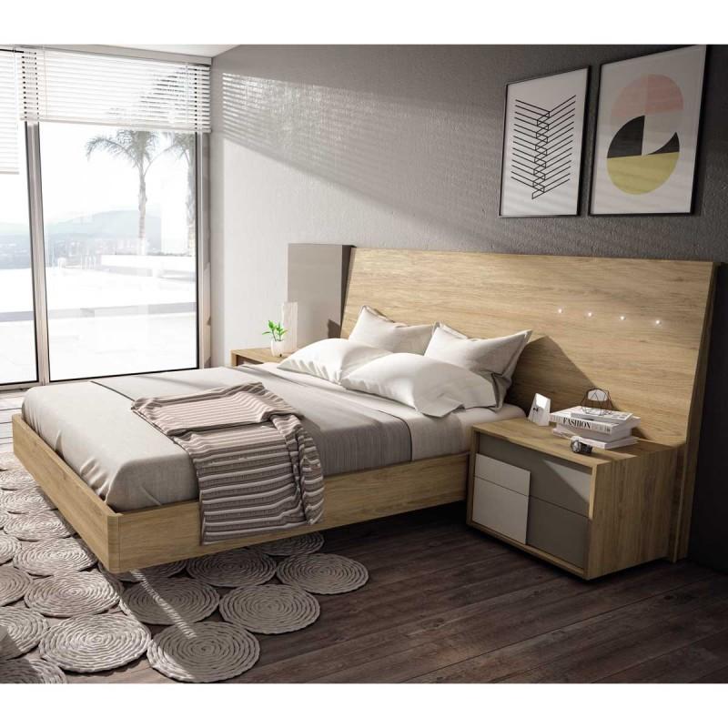 Panel cabecero de dormitorio estilo moderno con - Iluminacion dormitorios modernos ...