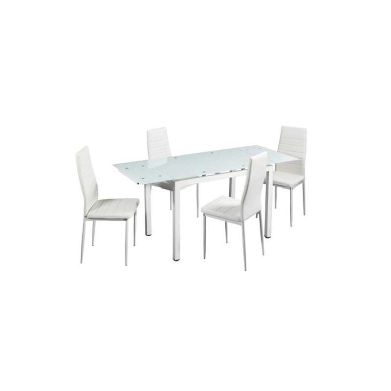Conjunto mesa extensible con tapa de cristal y 4 sillas for Mesa de cristal y 4 sillas