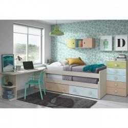 Cama compacta con doble cama descubierta y dos cajones