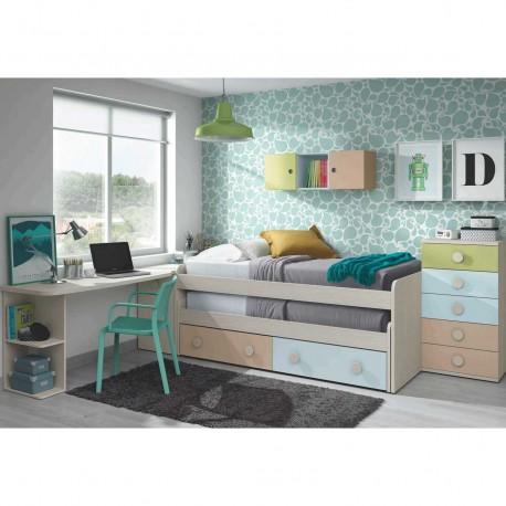 Cama compacta con doble cama descubierta y dos cajones for Cama juvenil doble con cajones