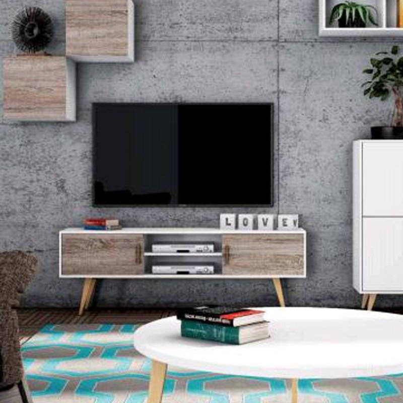 M dulo tv con patas en color roble natural y blanco for Color roble natural