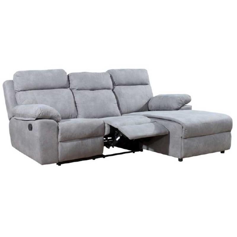 Sofá Chaise Longue tapizado en tejido antimanchas y relax manual