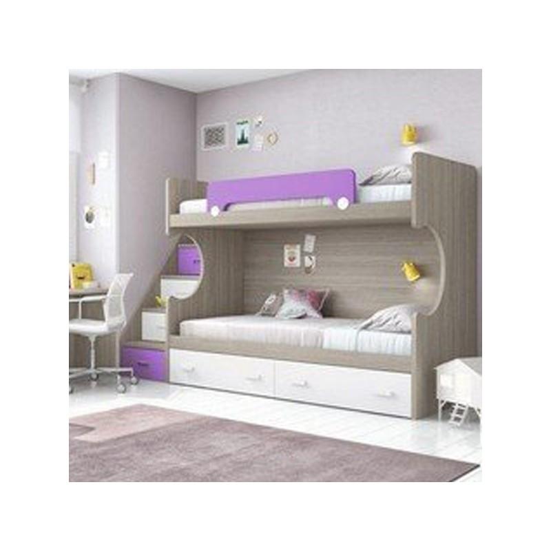 Litera dos camas y dos cajones con escalera de cajones y quitamiedos - Literas con escaleras de cajones ...
