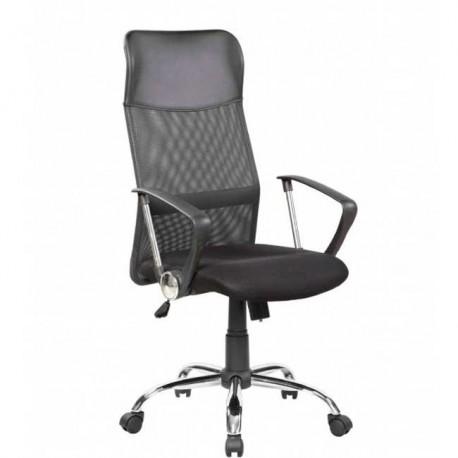 Silla de oficina y despacho tapizada en s mil piel y tejido 3d negro - Sillas de despacho ...