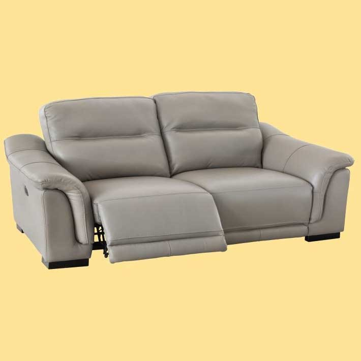 Sofá de 3 o 2 plazas tapizado en piel color piedra con relax eléctrico