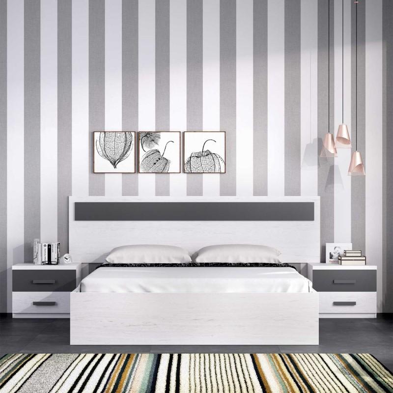 Dormitorio moderno compuesto por cabezal ba era de cama y for Dormitorio completo