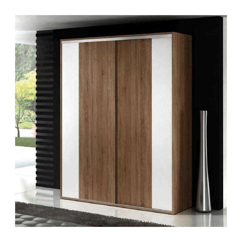 Armario de puertas correderas en color nogal con detalles for Armarios juveniles puertas correderas
